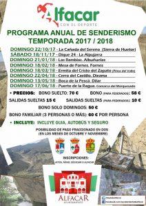 Cartel del Programa Anual de Senderismo 2017/2018